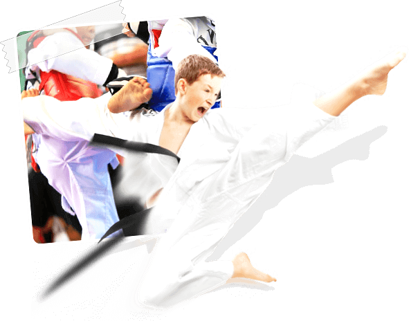 World Karate student showing high fly kick during taekwondo session